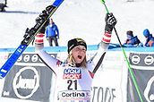 20th January 2019, Cortina D'Ampezzo, Italy; Ladies Super G, third place Tamara Tippler of Austria during the winners Ceremony