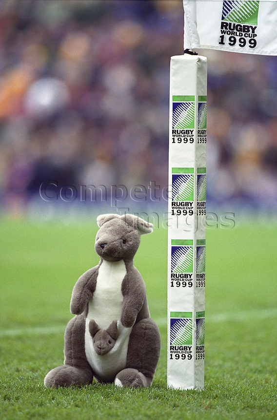 Toy kangaroo next to rugby world cup flag