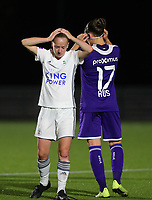20190920 – LEUVEN, BELGIUM : OHL's  Lottel Michiels is pictured holding her head after the high kick of Laura-Roxana Rus (17) during a women soccer game between Dames Oud Heverlee Leuven A and RSC Anderlecht Ladies on the fourth matchday of the Belgian Superleague season 2019-2020 , the Belgian women's football  top division , friday 20 th September 2019 at the Stadion Oud-Heverlee Korbeekdam in Oud Heverlee  , Belgium  .  PHOTO SPORTPIX.BE   SEVIL OKTEM