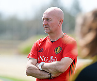 20180301 - LARNACA , CYPRUS :  Belgian teammanager Rudy Vanderelst pictured during a Matchday -1 training from The Belgian Red Flames prior to their game against Spain , on Thursday 1 March 2018 at the Alpha Sports Grounds in Larnaca , Cyprus . This will be the second game in group B for Belgium during the Cyprus Womens Cup , a prestigious women soccer tournament as a preparation on the World Cup 2019 qualification duels. PHOTO SPORTPIX.BE | DAVID CATRY