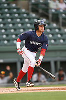 Shortstop Everlouis Lozada (4) of the Greenville Drive bats in a game against the Augusta GreenJackets on Wednesday, April 25, 2018, at Fluor Field at the West End in Greenville, South Carolina. Augusta won, 9-2. (Tom Priddy/Four Seam Images)