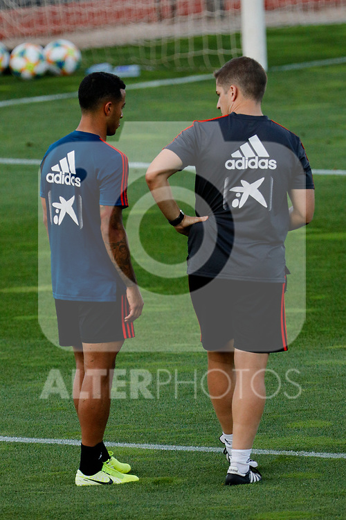 Thiago Alcantara and Robet Moreno during the Trainee Session at Ciudad del Futbol in Las Rozas, Spain. September 02, 2019. (ALTERPHOTOS/A. Perez Meca)