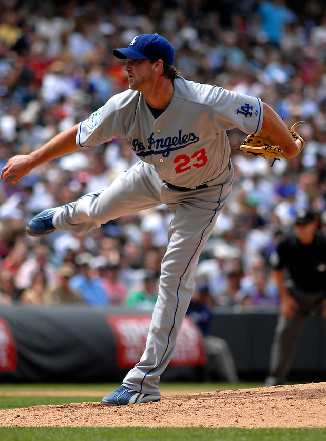 04 May 2008: Los Angeles Dodgers starting pitcher Derek Lowe works against the Colorado Rockies on May 4, 2008 at Coors Field in Denver, Colorado. The Rockies defeated the Dodgers 7-2. FOR EDITORIAL USE ONLY