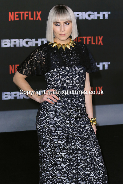 NON EXCLUSIVE PICTURE: MATRIXPICTURES.CO.UK<br /> PLEASE CREDIT ALL USES<br /> <br /> WORLD RIGHTS<br /> <br /> American actress Noomi Rapace attending the UK premiere of Netflix's 'Bright', held on London's Southbank.<br /> <br /> DECEMBER 15th 2017<br /> <br /> REF: MES 172875
