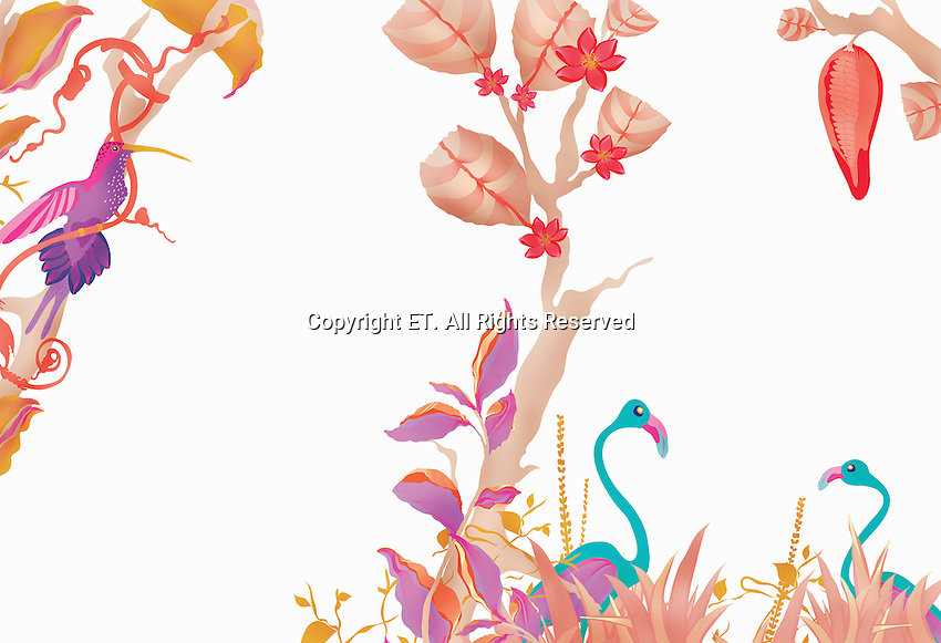 Border pattern of flowers, vines and birds
