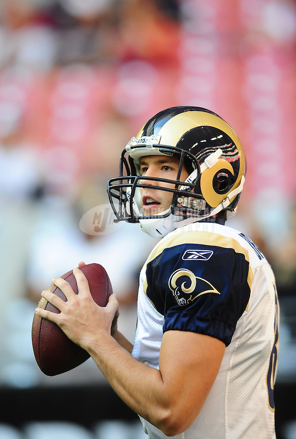 Dec. 5, 2010; Glendale, AZ, USA; St. Louis Rams quarterback (8) Sam Bradford against the Arizona Cardinals at University of Phoenix Stadium. Mandatory Credit: Mark J. Rebilas-
