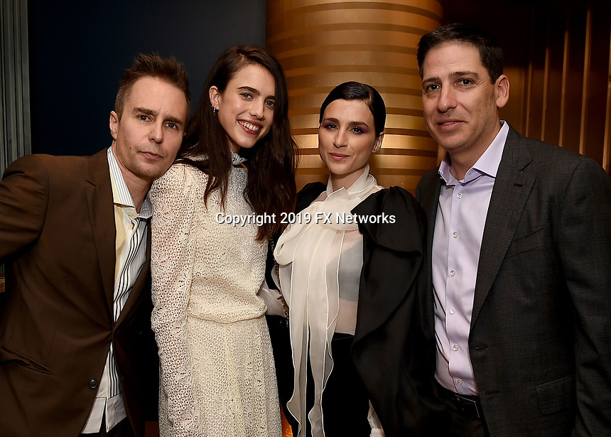 LOS ANGELES - SEPTEMBER 21: (L-R) Sam Rockwell, Margaret Qualley, Aya Cash, and Eric Schrier, President, FX Entertainment attend the FX Networks & Vanity Fair Pre-Emmy Party at Craft LA on September 21, 2019 in Los Angeles, California. (Photo byFrank Micelotta/FX/PictureGroup)