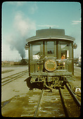 Passenger car with Denver &amp; Rio Grande train having San Juan logo.<br /> D&amp;RGW