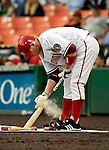 16 May 2007: Washington Nationals first baseman Robert Fick prepares his bat in the on-deck circle during a game against the Atlanta Braves at RFK Stadium in Washington, DC. The Nationals rallied to defeat the Braves 6-4 to take a 2-1 lead in their four-game series...Mandatory Photo Credit: Ed Wolfstein Photo