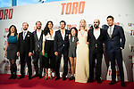 "Alberto Lopez Lopez, Jose Manuel Poga, Nya de la Rubia, the director of the film Kike Maillo, Claudia Canal, Ingrid García Jonsson, Luis Tosar and Mario Casas attends to the premiere of the spanish film ""Toro"" at Kinepolis Cinemas in Madrid. April 20, 2016. (ALTERPHOTOS/Borja B.Hojas)"