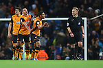 Hull's Isaac Hayden takes issue with referee Mike Jones following the fourth goal - Manchester City vs Hull City - Capital One Cup - Etihad Stadium - Manchester - 01/12/2015 Pic Philip Oldham/SportImage
