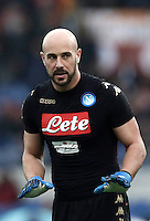 Napoli&rsquo;s goalkeeper Pepe Reina gestures during the Italian Serie A football match between Roma and Napoli at Rome's Olympic stadium, 4 March 2017. <br /> UPDATE IMAGES PRESS/Isabella Bonotto