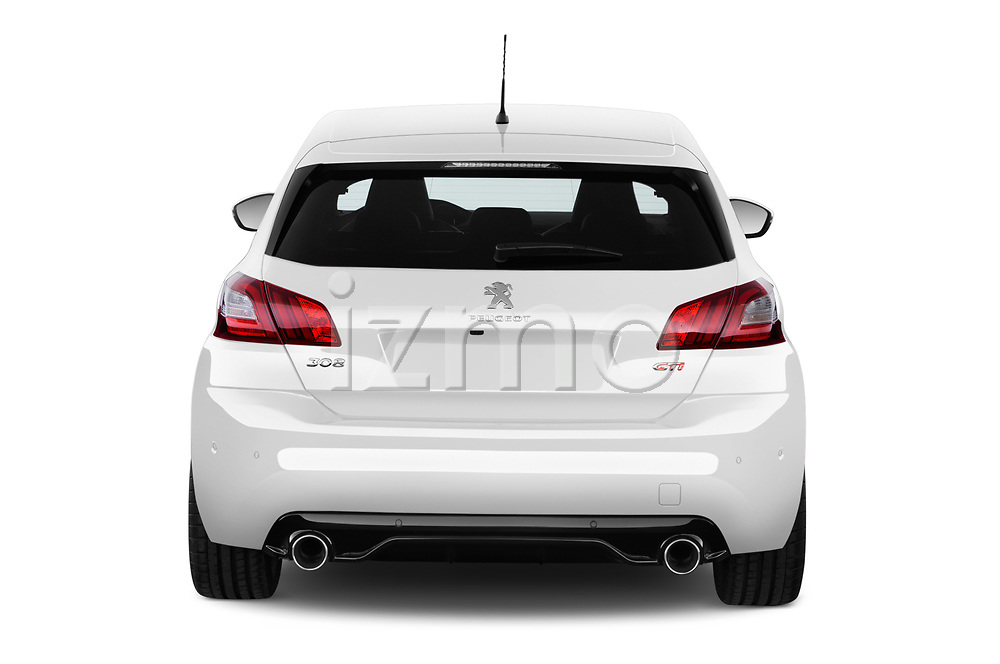 Straight rear view of a 2018 Peugeot 308 GTi Base 5 Door Hatchback stock images