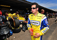 May 30, 2008; Dover, DE, USA; Nascar Sprint Cup Series driver Sam Hornish Jr during practice for the Best Buy 400 at the Dover International Speedway. Mandatory Credit: Mark J. Rebilas-US PRESSWIRE