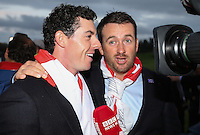 Rory McIlroy (EUR) and Graeme McDowell (EUR) being interviewed at the final photocall  at the 2014 Ryder Cup from Gleneagles, Perthshire, Scotland. Picture:  David Lloyd / www.golffile.ie