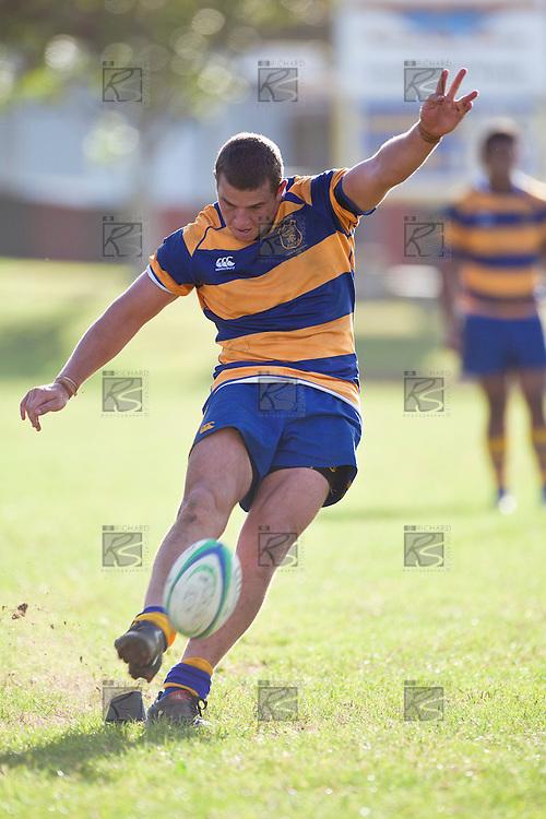 Sean Reidy kicks a late penalty for Patumahoe. Counties Manukau Premier Club Rugby game between Patumahoe and Karaka, played at Patumahoe on Saturday 9th of April 2011..Karaka won 22 - 13 after leading 16 - 7 at halftime.