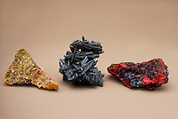METAL SULFIDES<br /> Orpiment, Stibnite and Cinnabar<br /> Various metal sulfides, from left to right: orpiment (arsenic sulfide), stibnite (antimony sulfide) and cinnabar (mercury sulfide).