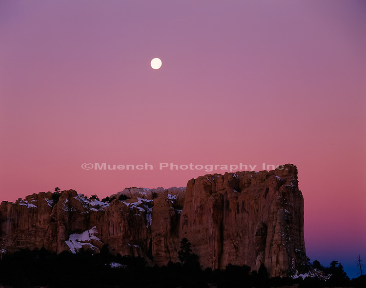 El Morro Rock moonset El Morro National Monument