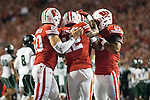 Wisconsin Badgers teammates celebrate during an NCAA college football game against the Hawaii Rainbow Warriors Saturday, September 26, 2015. The Badgers won 28-0. (Photo by David Stluka)