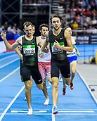 2nd February 2019, Karlsruhe, Germany;  800m men: winner Andreas Kraner (SWE) ahead of Erik Sowinski (USA). IAAF Indoor athletics meeting, Karlsruhe