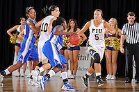 12 January 2012:  FIU guard Sasha Melnikova (5) defends Middle Tennessee State guard Shanice Cason (5) in the second half as the Middle Tennessee State University Blue Raiders defeated the FIU Golden Panthers, 74-60, at the U.S. Century Bank Arena in Miami, Florida.