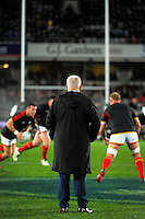 Wales coach Warren Gatland watches his team warm up for during the Steinlager Series All Blacks rugby match between the New Zealand All Blacks and Wales at Eden Park, Auckland, New Zealand on Saturday, 11 June 2016. Photo: Dave Lintott / lintottphoto.co.nz