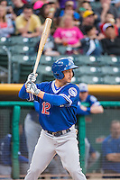 Darwin Barney (12) of the Oklahoma City Dodgers at bat against the Salt Lake Bees in Pacific Coast League action at Smith's Ballpark on May 25, 2015 in Salt Lake City, Utah.  (Stephen Smith/Four Seam Images)