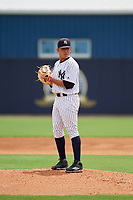 GCL Yankees East relief pitcher Wandy Soto (49) gets ready to deliver a pitch during the first game of a doubleheader against the GCL Blue Jays on July 24, 2017 at the Yankees Minor League Complex in Tampa, Florida.  GCL Blue Jays defeated the GCL Yankees East 6-3 in a game that originally started on July 8th.  (Mike Janes/Four Seam Images)