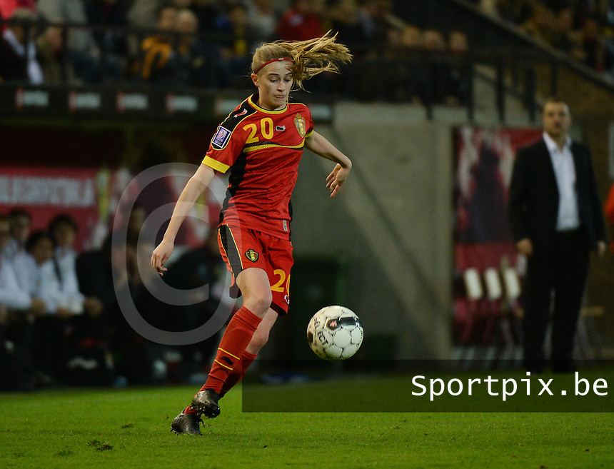 20140410 - LEUVEN , BELGIUM : Belgian Julie Biesmans (20) pictured during the female soccer match between Belgium and Norway, on the seventh matchday in group 5 of the UEFA qualifying round to the FIFA Women World Cup in Canada 2015 at Stadion Den Dreef , Leuven . Thursday 10th April 2014 . PHOTO DAVID CATRY
