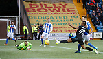 Alfredo Morelos cant stretch to prod the ball home in the second half