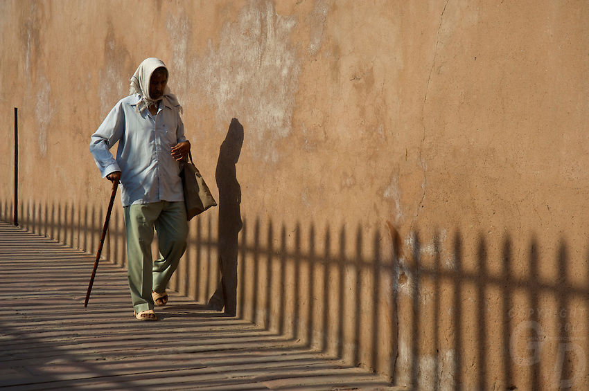 Shadows on the wall of the Agra Fort  a UNESCO World Heritage site located in Agra, India. The fort is also known as Lal Qila, Fort Rouge and Red Fort of Agra. It is about 2.5 km northwest of its much more famous sister monument, the Taj Mahal. The fort can be more accurately described as a walled palatial city...It is the most important fort in India. The great Mughals Babur, Humayun, Akbar, Jehangir, Shah Jahan and Aurangzeb lived here, and the country was governed from here. It contained the largest state treasury and mint. It was visited by foreign ambassadors, travellers and the highest dignitaries who participated in the making of history in India..