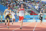 November 17 2011 - Guadalajara, Mexico:  Kyle Whitehouse competing in the Men's 200m - T38 Final in the Telmex Athletic's Stadium at the 2011 Parapan American Games in Guadalajara, Mexico.  Photos: Matthew Murnaghan/Canadian Paralympic Committee