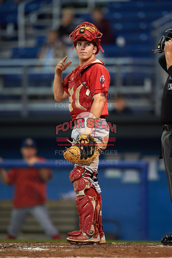 Williamsport Crosscutters catcher Henri Lartigue (40) during a game against the Batavia Muckdogs on September 2, 2016 at Dwyer Stadium in Batavia, New York.  Williamsport defeated Batavia 9-1. (Mike Janes/Four Seam Images)