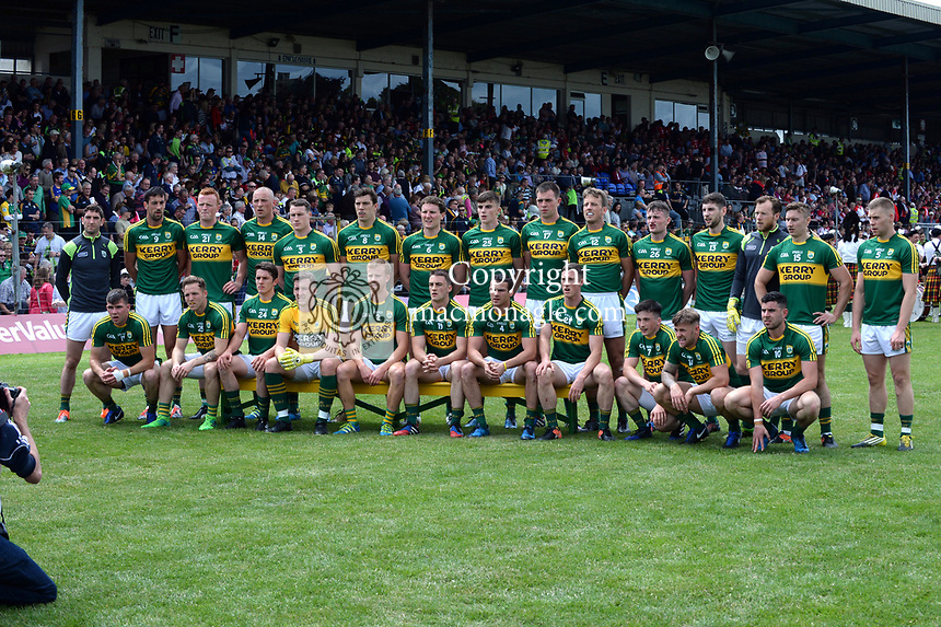 2-7-2017: The Kerry team at the Kerry V Cork Munster Football final in Killarney on Sunday.<br /> Photo: Don MacMonagle