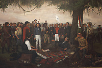 The Surrender of Santa Anna, detail, 1886, by William Huddle, 1847-92, in the South Foyer of the Texas State Capitol (where it has hung since 1891), designed in 1881 by Elijah E Myers and built 1882-88, Austin, Texas, USA. The painting depicts April 22nd 1836, the day after the Battle of San Jacinto. Mexican general Antonio Lopez de Santa Anna is brought before Texas General Sam Houston as a prisoner of war. Houston, wounded, rests under an oak tree while arranging an armistice with Santa Anna. To the right is Erastus 'Deaf' Smith, a Texan scout, and captured Mexican battle flags lean against a tree. Behind Houston is Secretary of War Thomas Jefferson Rusk, who is standing next to Colonel Mirabeau B Lamar. Picture by Manuel Cohen