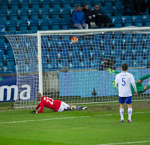 29.03.2016 Ullevaal Stadion, Oslo, Norway. Jo Inge Berget of Norway scoring the opening goal during the International Football Friendly match between Norway and Finland at the Ullevaal Stadion in Oslo, Norway.  Norway ran out 2-0 winners of the game.