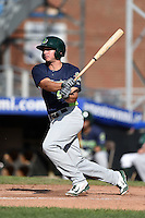 Vermont Lake Monsters outfielder Max Kuhn (9) at bat during a game against the Jamestown Jammers on July 13, 2014 at Russell Diethrick Park in Jamestown, New York.  Jamestown defeated Vermont 6-2.  (Mike Janes/Four Seam Images)