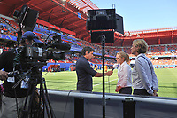 20190629 - VALENCIENNES , FRANCE : Dutch coach Sarina Wiegman interviewed by Dutch TV NOS before  the female soccer game between Italy  - Squadra Azzurrine - and The Netherlands  – Oranje Leeuwinnen - , a knock out game in the quarter finals of the FIFA Women's  World Championship in France 2019, Saturday 29 th June 2019 at the Stade du Hainaut Stadium in Valenciennes , France .  PHOTO SPORTPIX.BE | DIRK VUYLSTEKE