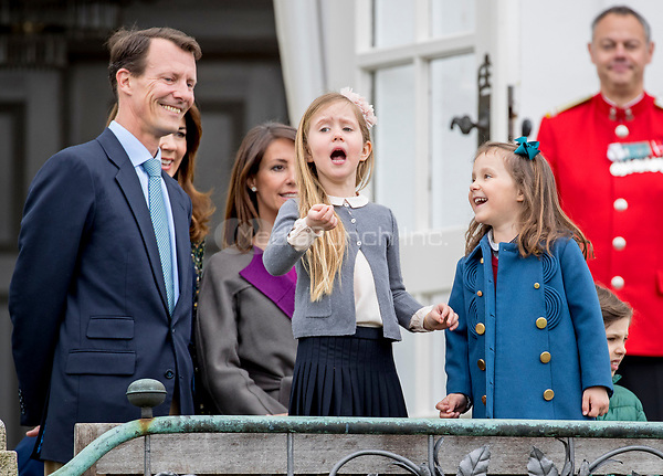Prince Joachim, Princess Marie, Princess Josephine and Princess Athena of Denmark attend the 77th birthday celebrations of Queen Margrethe at Marselisborg palace in Aarhus, Denmark, 16 April 2017. Photo: Patrick van Katwijk Foto: Patrick van Katwijk/Dutch Photo Press/dpa /MediaPunch ***FOR USA ONLY***