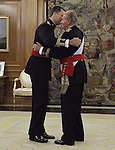 Prince Felipe of Spain and King Juan Carlos of Spain, attend the official ceremony to become chief commander of the spanish military forces. . June 19 ,2014. (ALTERPHOTOS/EFE/Pool)