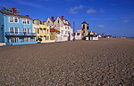 A082XF Buildings on the promenade Aldeburgh Suffolk England viewed from shingle beach