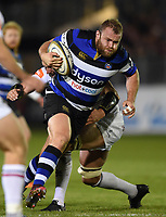 Scott Andrews of Bath Rugby takes on the Leicester Tigers defence. Anglo-Welsh Cup match, between Bath Rugby and Leicester Tigers on November 10, 2017 at the Recreation Ground in Bath, England. Photo by: Patrick Khachfe / Onside Images