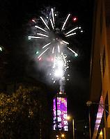BOGOTA -COLOMBIA , 1 ,ENERO-2016. Con juegos pirotécnicos La Torre Colpatria le dió la bienvenida al año 2016 ./ With fireworks La Torre Colpatria it welcomed the year 2016 Photo: VizzorImage / Felipe Caicedo / Staff