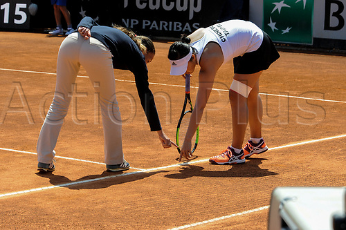 April 23rd 2017, Circolo Tennis Barletta, Barletta, Italy; Fed Cup tennis play-offs World Group II, Italy versus Chinese Taipei; Ya-Hsuan LEE speak with umpire about a line call
