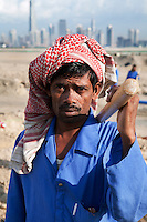 United Arab Emirates, Dubai: Asian construction worker