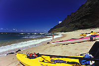 Kayak paddling to explore Milolii Beach on Kauai's Na Pali Coast