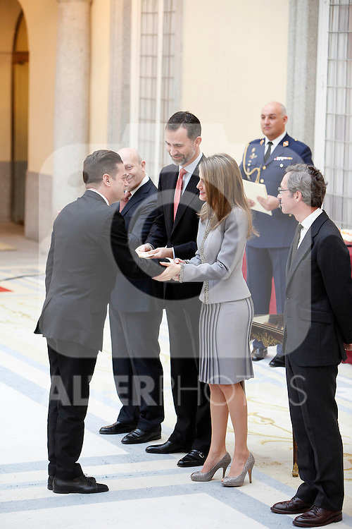 Santiago Auseron, Prince Felipe of Spain and Princess Letizia of Spain attend the National Awards of Culture 2011 and 2012 at Palacio de El Pardo. February 19, 2013. (ALTERPHOTOS/Caro Marin)