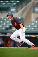 GCL Orioles outfielder Jason Heinrich (41) at bat during the first game of a doubleheader against the GCL Rays on August 1, 2015 at the Ed Smith Stadium in Sarasota, Florida.  GCL Orioles defeated the GCL Rays 2-0.  (Mike Janes/Four Seam Images)