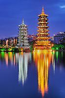 Sun and Moon pagodas or Silver and Gold pagodas, Guilin, China