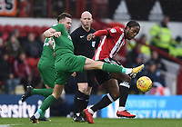 Preston's Alan Browne tackles Brentford's Romaine Sawyers<br /> <br /> Photographer Jonathan Hobley/CameraSport<br /> <br /> The EFL Sky Bet Championship - Brentford v Preston North End - Saturday 10th February 2018 - Griffin Park - Brentford<br /> <br /> World Copyright &copy; 2018 CameraSport. All rights reserved. 43 Linden Ave. Countesthorpe. Leicester. England. LE8 5PG - Tel: +44 (0) 116 277 4147 - admin@camerasport.com - www.camerasport.com